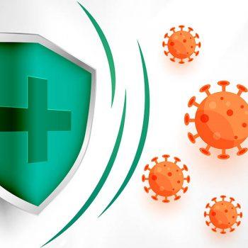medical shield protecting coronavirus to enter background